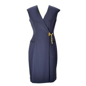 ELLEN TRACY Navy Cap Sleeve Career Sheath Dress